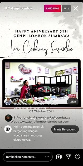Live Instagram Akun Official GenPI Nasional dan GenPI Lombok Sumbawa